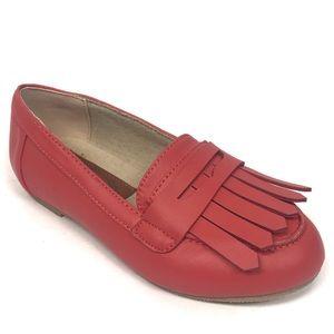 New joyfolie coral orange leather girls shoes 9